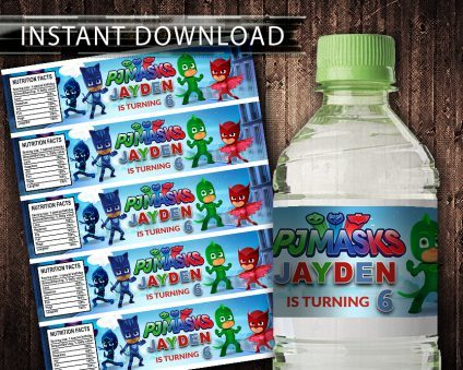 Pj Masks Water Bottle Labels, Pj Masks Bottle Labels, Water Labels, Pj Masks Birthday Party, DIY
