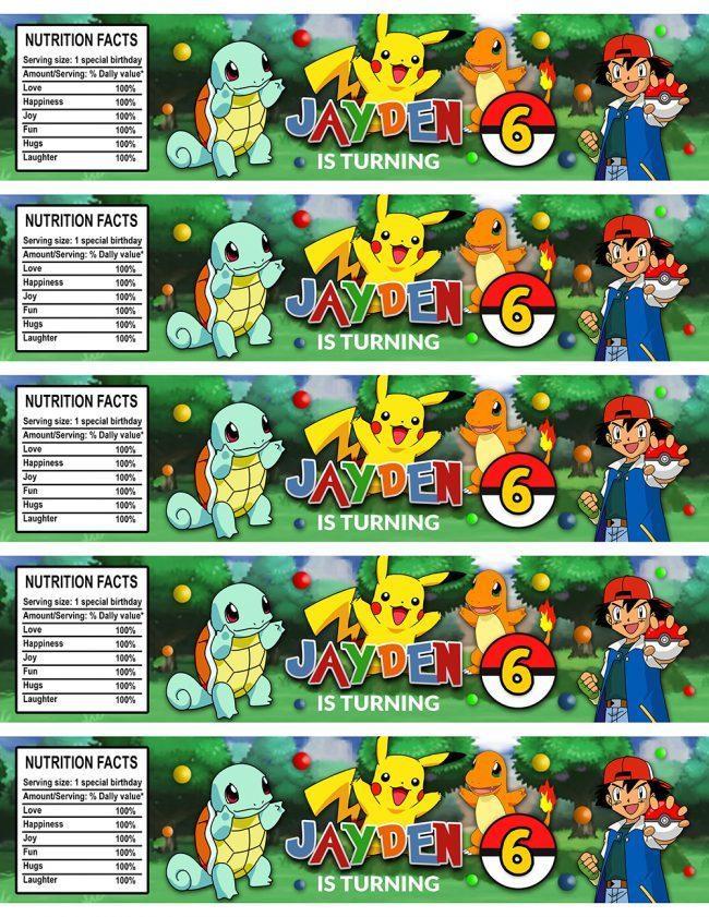 Pokemon Water Bottle Labels, Pokemon Bottle Labels, Water Labels, Pokemon Birthday Party, DIY