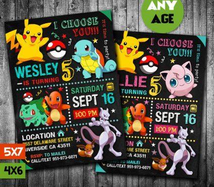 Pokemon Party Ideas Card, Pokemon Invite, Pikachu Invitation, Pokemon Birthday Party, Pokemon Printable