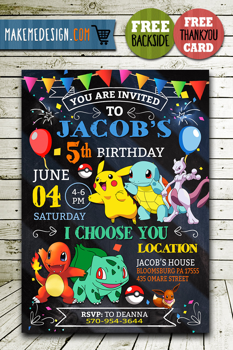 This is a graphic of Pokemon Party Invitations Free Printable inside pool party