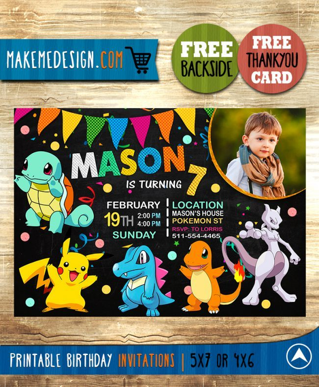 Pokemon Invitation With Picture, Pokemon Invite, Pikachu Invitation, Pokemon Birthday Party, Pokemon Printable