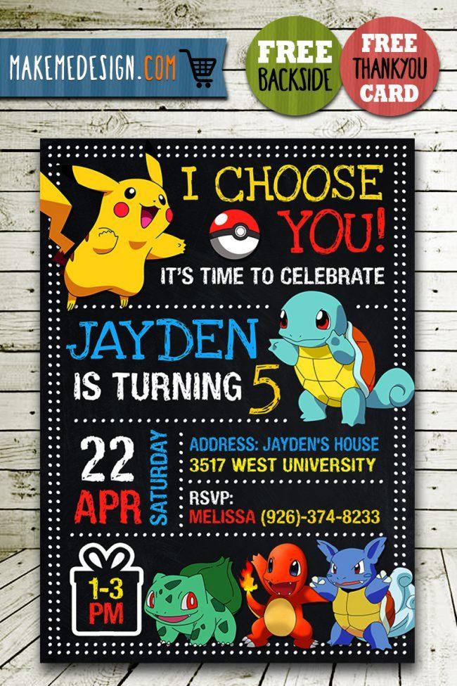 Pokemon Party Invites, Pokemon Invite, Pikachu Invitation, Pokemon Birthday Party, Pokemon Printable