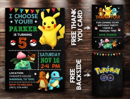 Pokemon Invitation Card, Pokemon Invite, Pikachu Invitation, Pokemon Birthday Party, Pokemon Printable