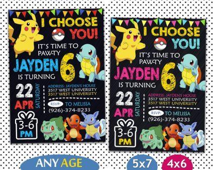 Pokemon Birthday Invitations Template, Pokemon Invite, Pikachu Invitation, Pokemon Birthday Party, Pokemon Printable