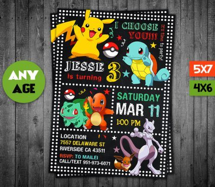 Pokemon Birthday Invites, Pokemon Invite, Pikachu Invitation, Pokemon Birthday Party, Pokemon Printable