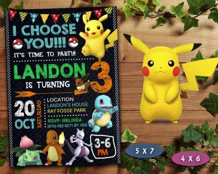 Pokemon Birthday Invitations Diy, Pokemon Invite, Pikachu Invitation, Pokemon Birthday Party, Pokemon Printable