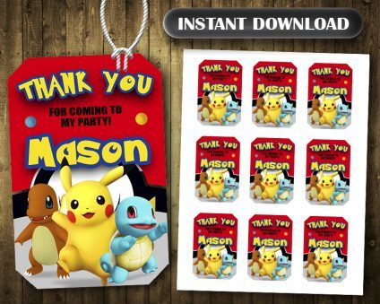 Pokemon Thank You Tags, Pokemon Tags, Pokemon Thank You Card, Pokemon Favor Tags, DIY