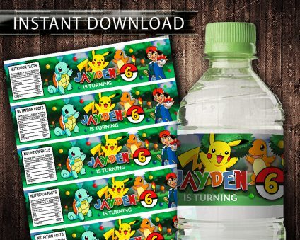 Pokemon Water Bottle Labels, Pokemon Bottle Labels, Water Labels, Pokemon Birthday Party, DIY