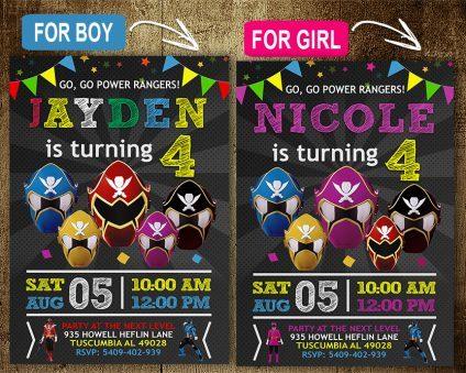 Power Rangers Invitation, Power Rangers Invite, Power Rangers Birthday Party, Power Rangers Printable, Power Rangers Card, DIY