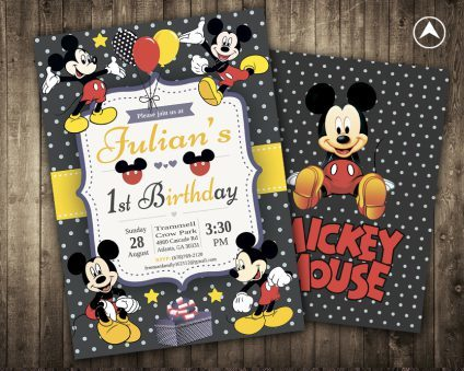 Mickey Mouse Invitation Card, Mickey Mouse Invite, Mickey Mouse Birthday Party, Mickey Mouse Printable, Mickey Mouse Card, DIY