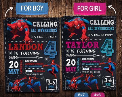 Spiderman Party Invite Ideas, Spiderman Invite, Spiderman Birthday Party, Spiderman Printable, Spiderman Card, DIY