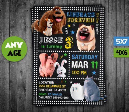 Secret Lives Of Pets Invitation, Secret Lives Of Pets Invite, Secret Lives Of Pets Birthday Party, Secret Lives Of Pets Printable, Secret Lives Of Pets Card, DIY