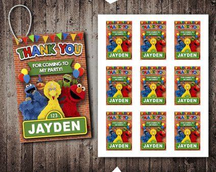Sesame Street Thank You Tags, Sesame Street Tags, Sesame Street Thank You Card, Sesame Street Favor Tags, DIY