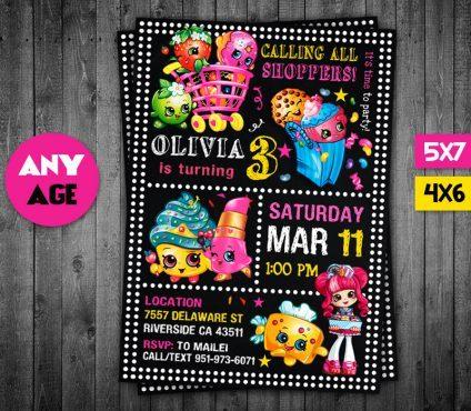 Shopkins Birthday Invites, Shopkins Invite, Shopkins Birthday Party, Shopkins Printable, Shopkins Card, DIY