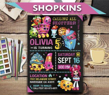 Shopkins Invitation, Shopkins Invite, Shopkins Birthday Party, Shopkins Printable, Shopkins Card, DIY