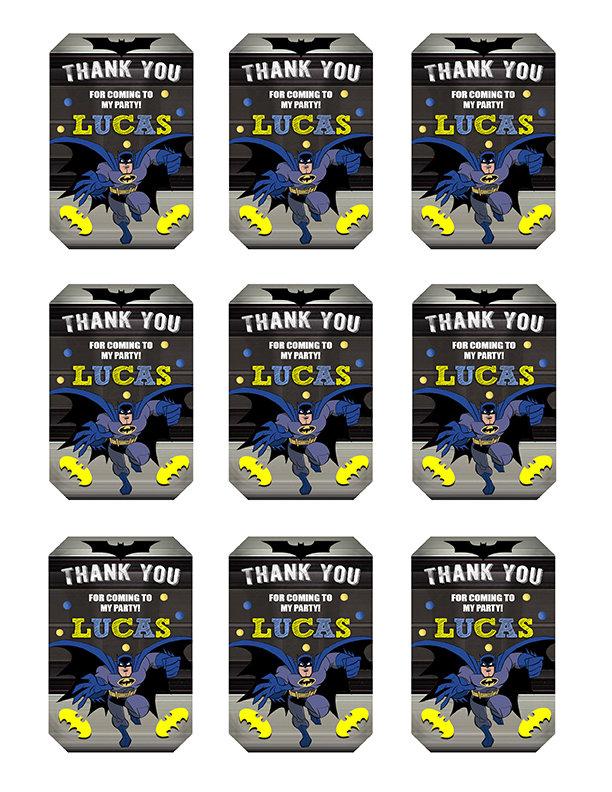 Batman Thank You Tags, Batman Tags, Batman Thank You Card, Batman Favor Tags, DIY