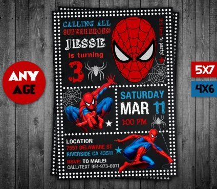 Spiderman Invitation Card, Spiderman Invite, Spiderman Birthday Party, Spiderman Printable, Spiderman Card, DIY