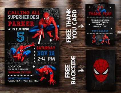 Spiderman Party Invites, Spiderman Invite, Spiderman Birthday Party, Spiderman Printable, Spiderman Card, DIY