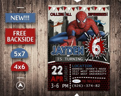 Spiderman Invitations Printables, Spiderman Invite, Spiderman Birthday Party, Spiderman Printable, Spiderman Card, DIY