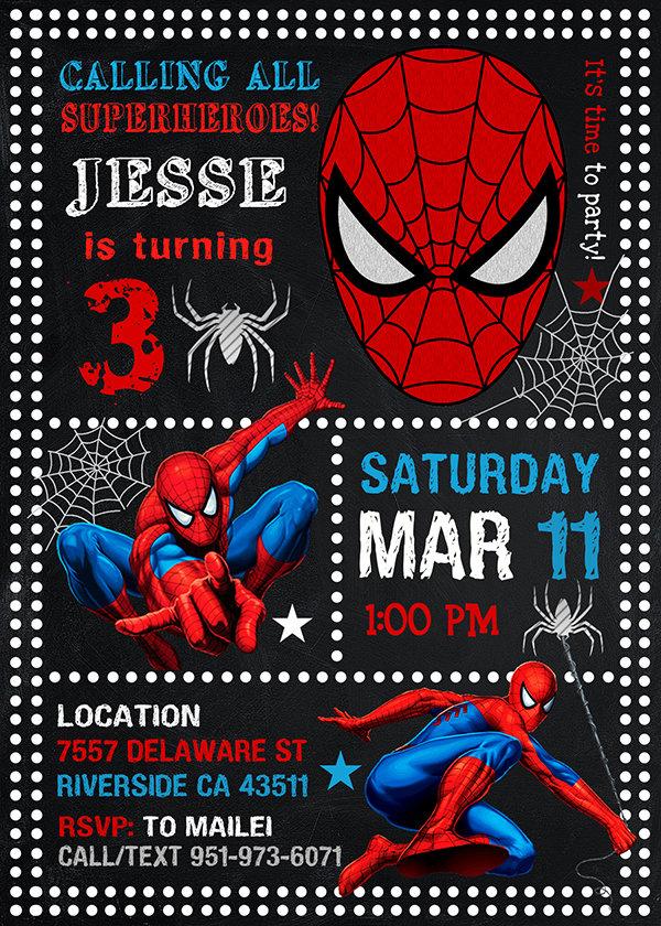 Spiderman Invitation Card, Spiderman Invite, Spiderman Birthday Party, Spiderman Printable, Spiderman Card, DIY