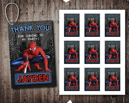 Spiderman Thank You Tags, Spiderman Tags, Spiderman Thank You Card, Spiderman Favor Tags, DIY