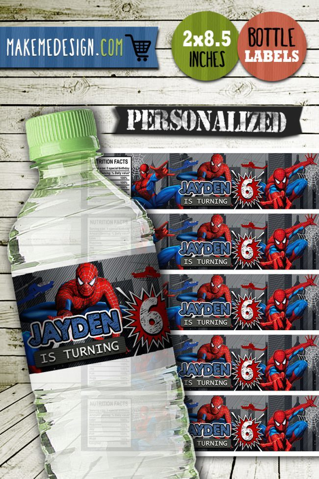 Spiderman Water Bottle Labels, Spiderman Bottle Labels, Water Labels, Spiderman Birthday Party, DIY