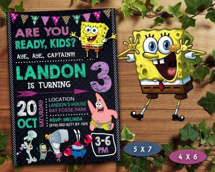 Spongebob Girl Invitation, Spongebob Girl Invite, Spongebob Girl Birthday Party, Spongebob Printable, Spongebob Card, DIY