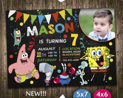 Spongebob Party Invites, Spongebob Invite, Spongebob Birthday Party, Spongebob Printable, Spongebob Card, DIY