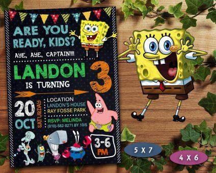 Spongebob Invitations Printables, Spongebob Invite, Spongebob Birthday Party, Spongebob Printable, Spongebob Card, DIY