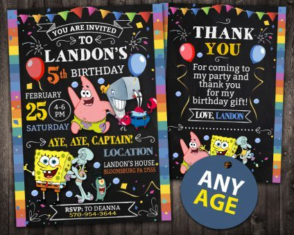 Spongebob Birthday Invitation, Spongebob Invite, Spongebob Birthday Party, Spongebob Printable, Spongebob Card, DIY