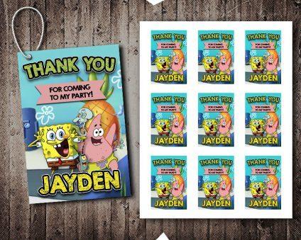 Spongebob Thank You Tags, Spongebob Tags, Spongebob Thank You Card, Spongebob Favor Tags, DIY