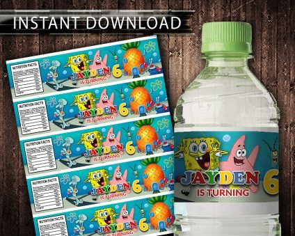 SpongeBob Water Bottle Labels, SpongeBob Bottle Labels, Water Labels, SpongeBob Birthday Party, DIY