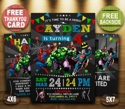Avengers Birthday Invites, Superhero Invitation, Avengers Invite, Superhero Invite, Avenger Birthday Party, Avenger Printable, Avenger Card, DIY