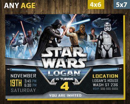 Star Wars Birthday Invitations Diy, Star Wars Invite, Star Wars Birthday Party, Star Wars Printable, DIY