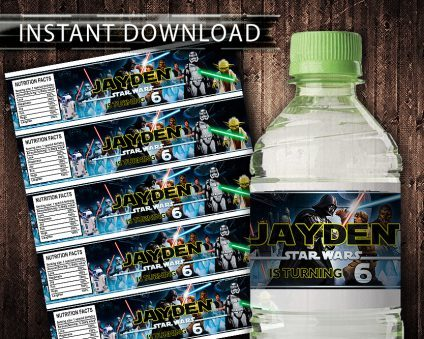 Star Wars Water Bottle Labels, Star Wars Bottle Labels, Water Labels, Star Wars Birthday Party, DIY