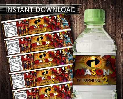 The Incredibles Water Bottle Labels, The Incredibles Bottle Labels, Water Labels, The Incredibles Birthday Party, DIY