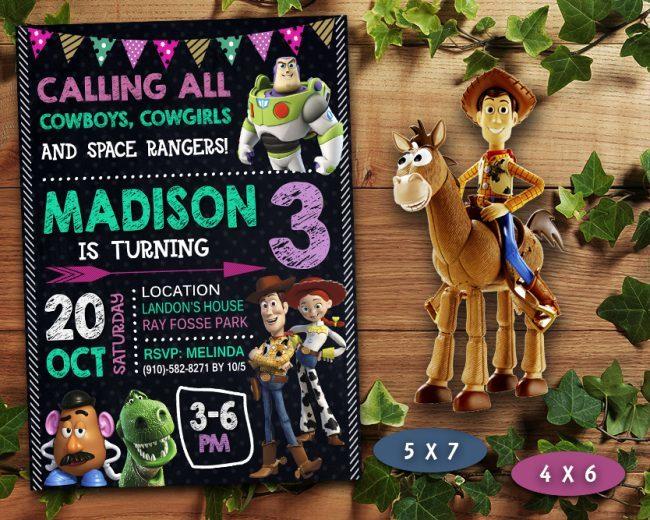 Toy Story Girl Invitation, Toy Story Girl Invite, Toy Story Birthday Party, Toy Story Printable, Toy Story Card, DIY