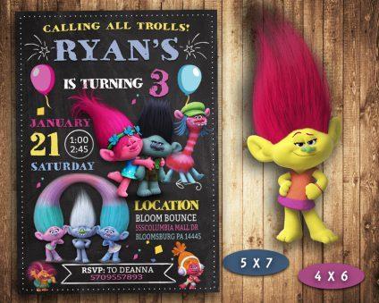 Trolls Invitation, Trolls Invite, Trolls Birthday Party, Trolls Printable, Trolls Card, DIY