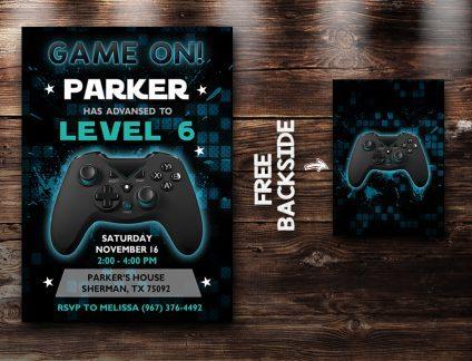 Video Game Invitation, Video Game Invite, Video Game Birthday Party, Video Game Printable, Video Game Card, DIY