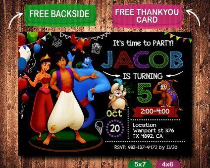 Aladdin Birthday Invites Birthday Party Invitations, Aladdin Party Invite Template, Aladdin  Invite Ideas