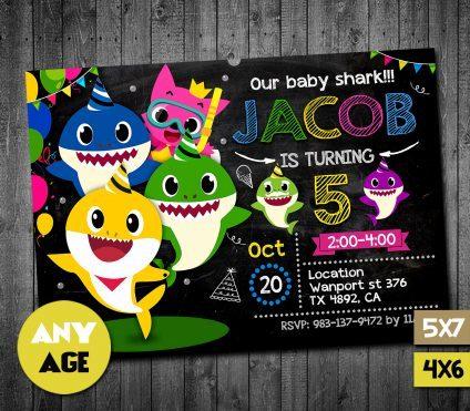 Baby Shark Invitation Card, Baby Shark Card, Baby Shark Birthday Party Ideas Card