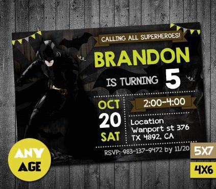 Batman Birthday Party Invites, Batman Birthday Invites, Batman Party Invite