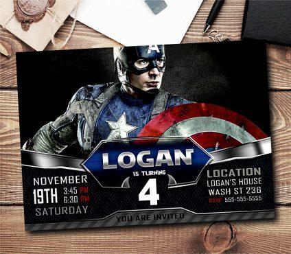 Captain America Invitations Boy, Captain America Birthday Invitations Boys, Boy Captain America Invitation, Boy Invitation