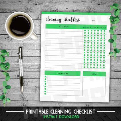 Cleaning Checklist, Cleaning Planner, Printable Cleaning Checklist, Housekeeping, Chore Chart, Weekly Cleaning, Mom Planner