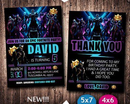 Fortnite Invitation Card, Fortnite Card, Fortnite Party Ideas Card