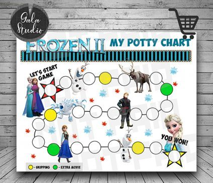 Frozen 2 Potty Training reward chart printable PDF, Frozen 2 Potty training guide, Reward charts for kids, My potty chart reward printable