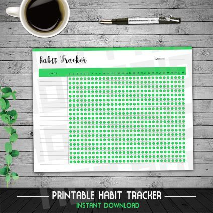 Habit Tracker Printable, Goal Planner Setting, Monthly habits, 30 Day Habit Challenge