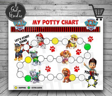 Paw Patrol Potty Training reward chart printable PDF, Potty training guide, Reward charts for kids, My potty chart reward printable