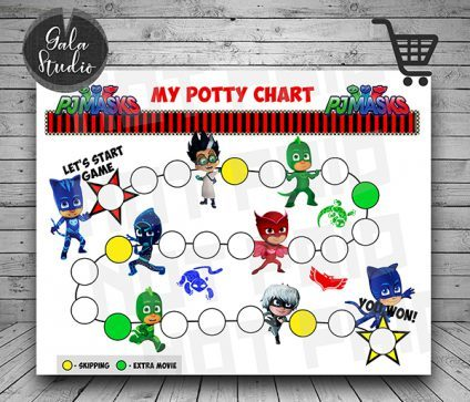 Pj Masks Potty Training reward chart printable PDF, Pj Masks Potty training guide, Reward charts for kids, My potty chart reward printable