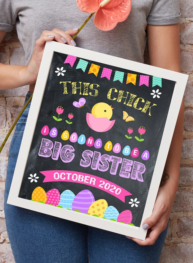 Easter Pregnancy Announcement, Big Sister Easter Sign, Pregnancy Reveal easter, Chick Pregnancy Announcement, Chick Easter Poster